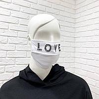 Многоразовая хлопковая защитная маска со стразами, фото 1