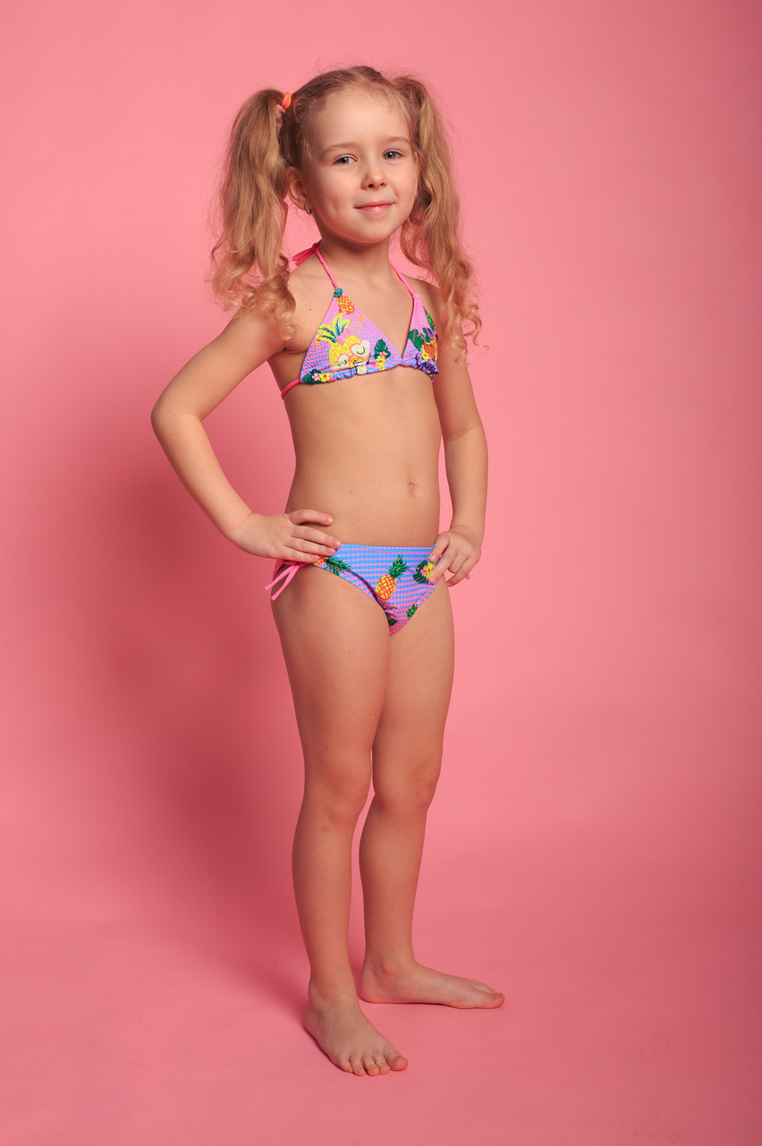 Детский купальник для девочек (арт. 11-2877)  28р-36р. розово-голубой