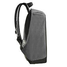 Городской рюкзак под ноутбук Bobby антивор 41х29х14 USB порт, водоотталкивающая ткань черно-серый  ксНЛ1688сер, фото 2