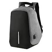 Городской рюкзак под ноутбук Bobby антивор 41х29х14 USB порт, водоотталкивающая ткань черно-серый  ксНЛ1688сер
