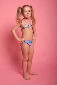 Оптом детский купальник для девочек (арт. 11-2877)  28р-36р. розово-голубой