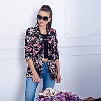 Женский пиджак New Collection 80172 черный с флористическим орнаментом S