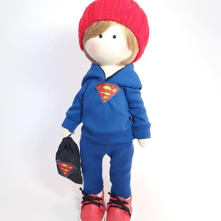 Текстильна інтер'єрна лялька-суперменб  лялька в подарунок