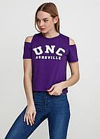 Женская футболка коттон с принтом и разрезами UNC 8191 Фиолетовый