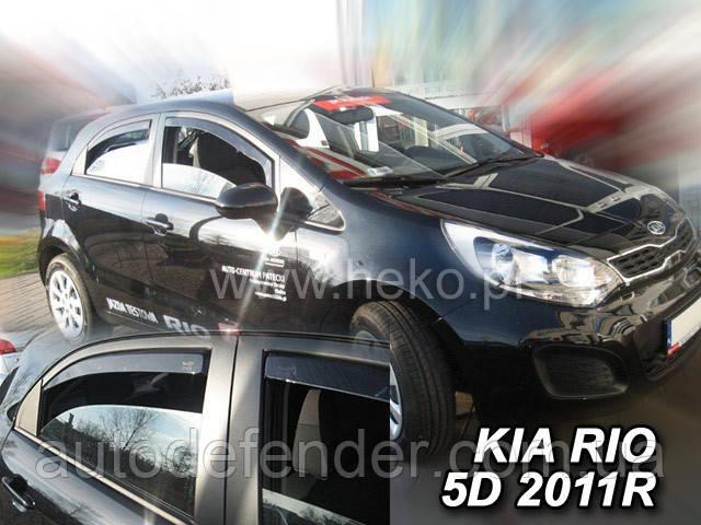 Дефлекторы окон (вставные!) ветровики Kia Rio 2011-2017 5D 4шт. hatchback, HEKO, 20153