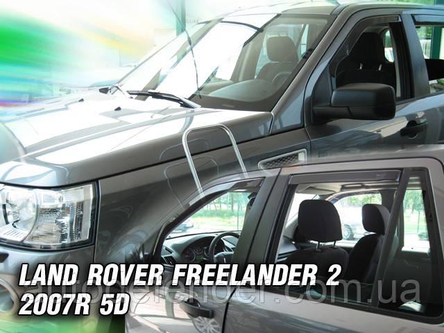 Дефлекторы окон (вставные!) ветровики Land Rover Freelander II 5D 2007- 4шт., HEKO, 27229