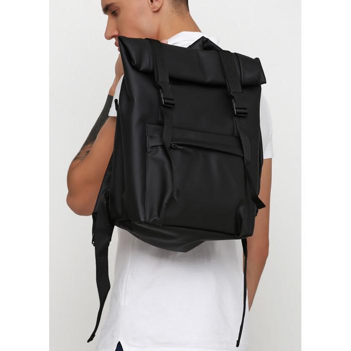 Рюкзак роллтоп черный мужской из экокожи (качественный кожзам) городской, деловой, офисный