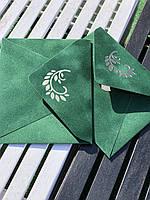 Бархатный конверт мини для пластиковой карты с тиснением веточка