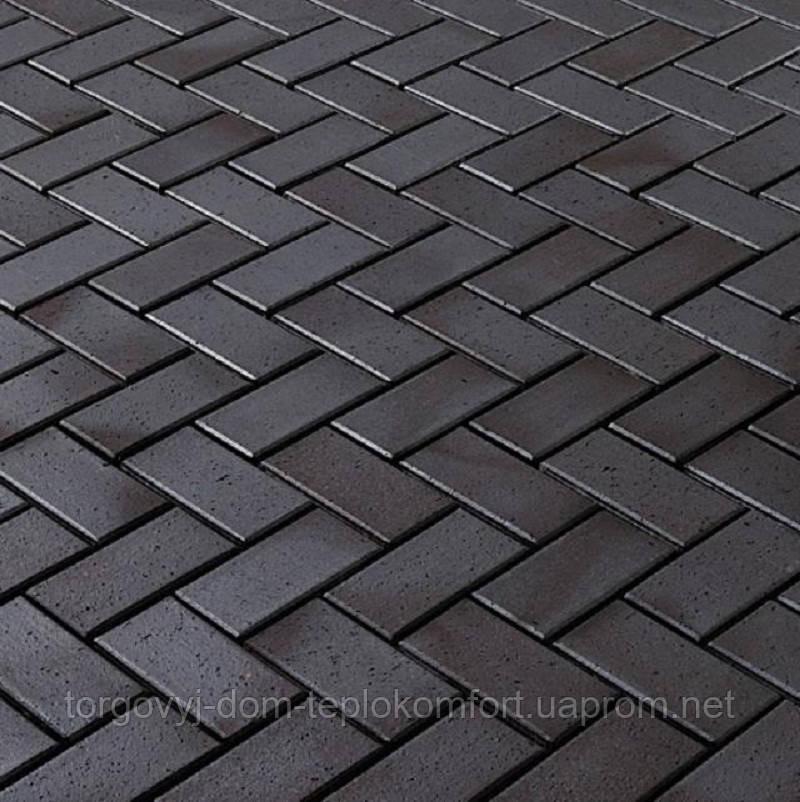 """Плитка тротуарна """"Цегла стандарт"""" Графит (черная) на сером цементе - 240 грн кв.м."""