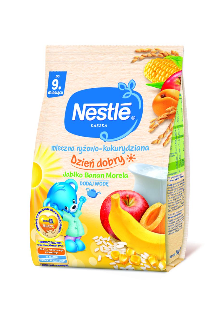 """Молочна каша Nestle """"Рис, кукурудза з яблуком, бананом i абрикосом"""" 230г"""