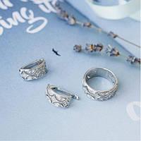 Комплект серебряный Восточный узор кольцо и серьги