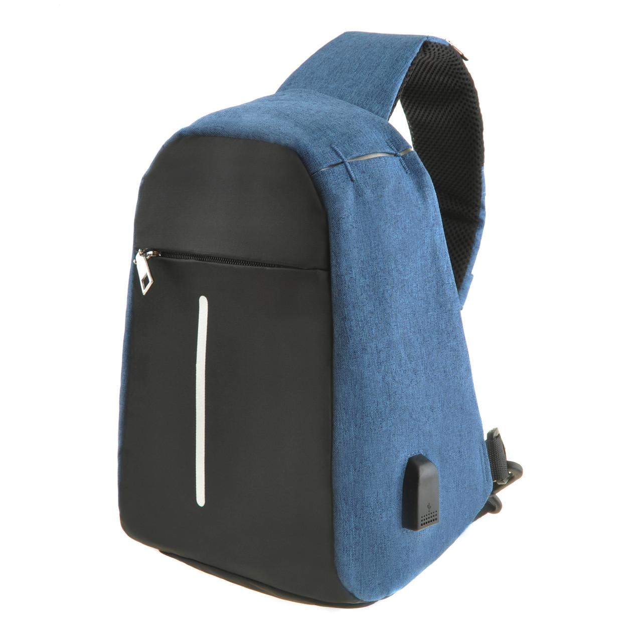 Рюкзак антивор однолямочный Bobby Mini 10х19х30 чёрно-голубой, водонепроницаемый ксНЛ1689гол
