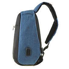 Рюкзак антивор однолямочный Bobby Mini 10х19х30 чёрно-голубой, водонепроницаемый ксНЛ1689гол, фото 2
