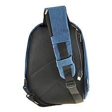 Рюкзак антивор однолямочный Bobby Mini 10х19х30 чёрно-голубой, водонепроницаемый ксНЛ1689гол, фото 3