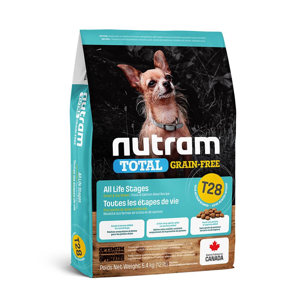 Беззерновой корм для щенков и собак мелких пород с лососем и форелью T28 NUTRAM 5,4 кг
