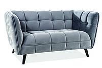 Прямой диван Signal Castello Velvet 2 Серый CASTELLO2V14, КОД: 1599224