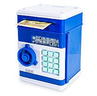 Детский сейф (синий корпус, круглая синяя ручка, бирюзовые кнопки) копилка детская с кодом для денег, Копилки