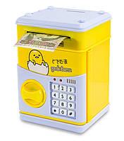 """Музыкальная копилка для детей (""""Цыпленок"""", желтый) игрушечный детский сейф с кодом - дитячий сейф, Сейфы и"""
