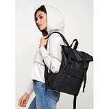 Вместительный женский городской рюкзак роллтоп черный экокожа (качественный кожзам), фото 5