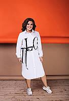 Свободное, удлиненное платье-рубашка  большого размера  48-50,52-54,56-58,60-62