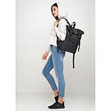 Вместительный женский городской рюкзак роллтоп черный экокожа (качественный кожзам), фото 2
