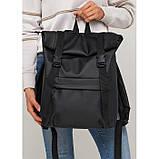 Вместительный женский городской рюкзак роллтоп черный экокожа (качественный кожзам), фото 4