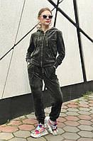 Женский темно-зеленый велюровый спортивный костюм на молнии (оверсайз) Rocamoon