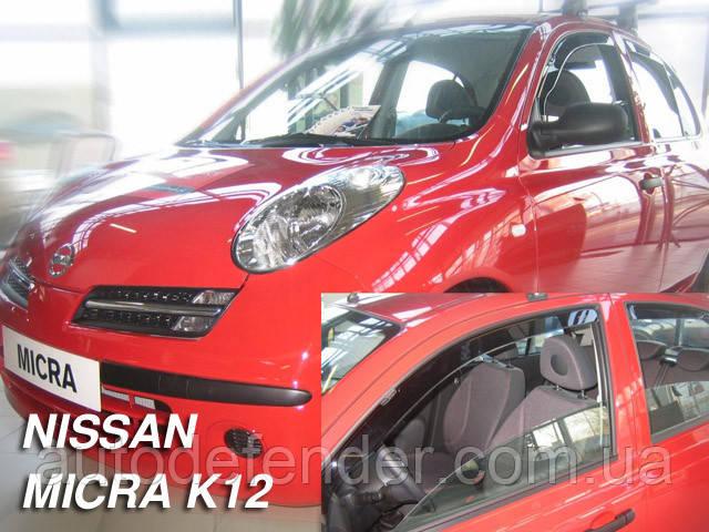 Дефлекторы окон (вставные!) ветровики Nissan Micra (K12) 2003-2010 5D 4шт., HEKO, 24236
