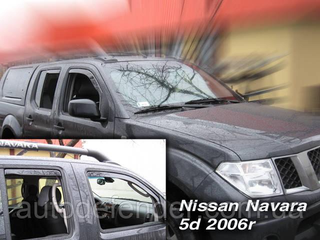 Дефлектори вікон (вставні!) вітровики Nissan Navara D40 2005-2016 4шт., HEKO, 24243