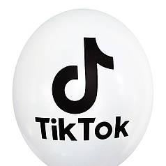 """0395 Шар 12"""" (30 см) TikTok / ТикТок на белом (Kalisan)"""