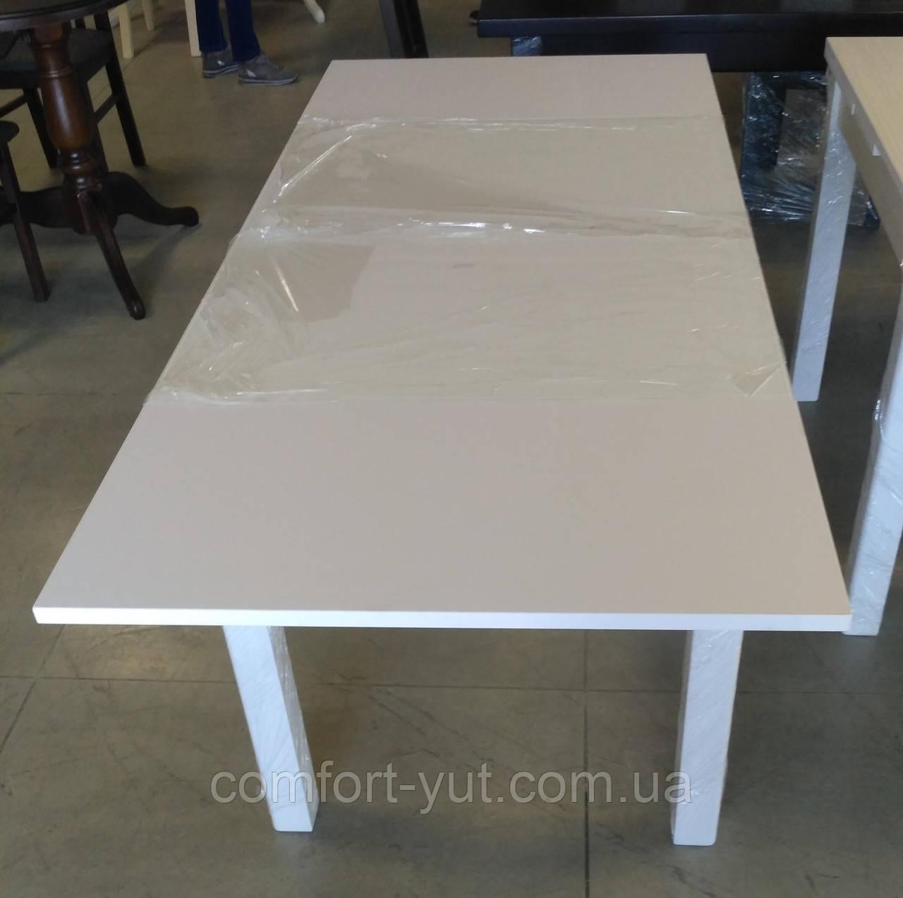 Стол обеденный МАРСЕЛЬ 110(+35+35)х75 белый- Белый -Стекло ультрабелое