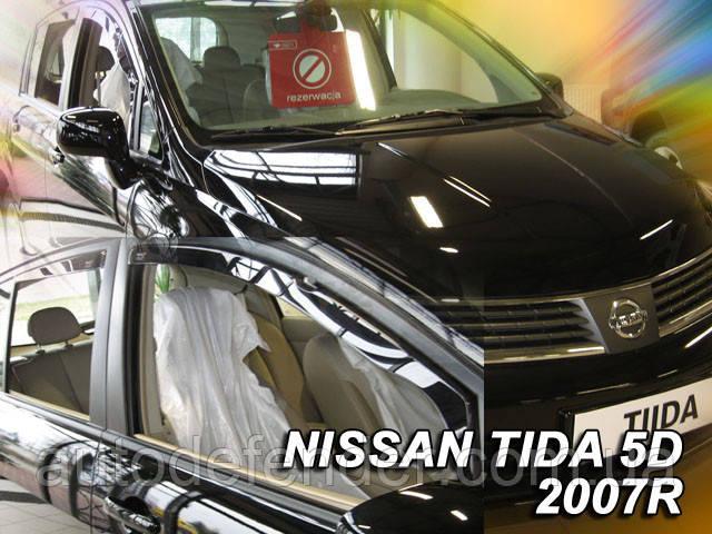 Дефлекторы окон (вставные!) ветровики Nissan Tiida 2006-2015 5D 4шт. hatchback, HEKO, 24269