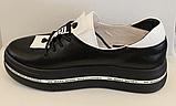 Кроссовки кожаные женские на толстой подошве от производителя модель ЛИ110-1, фото 3
