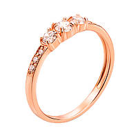 Кольцо из красного золота Ангелика с фианитами 000103736 17.5 размер