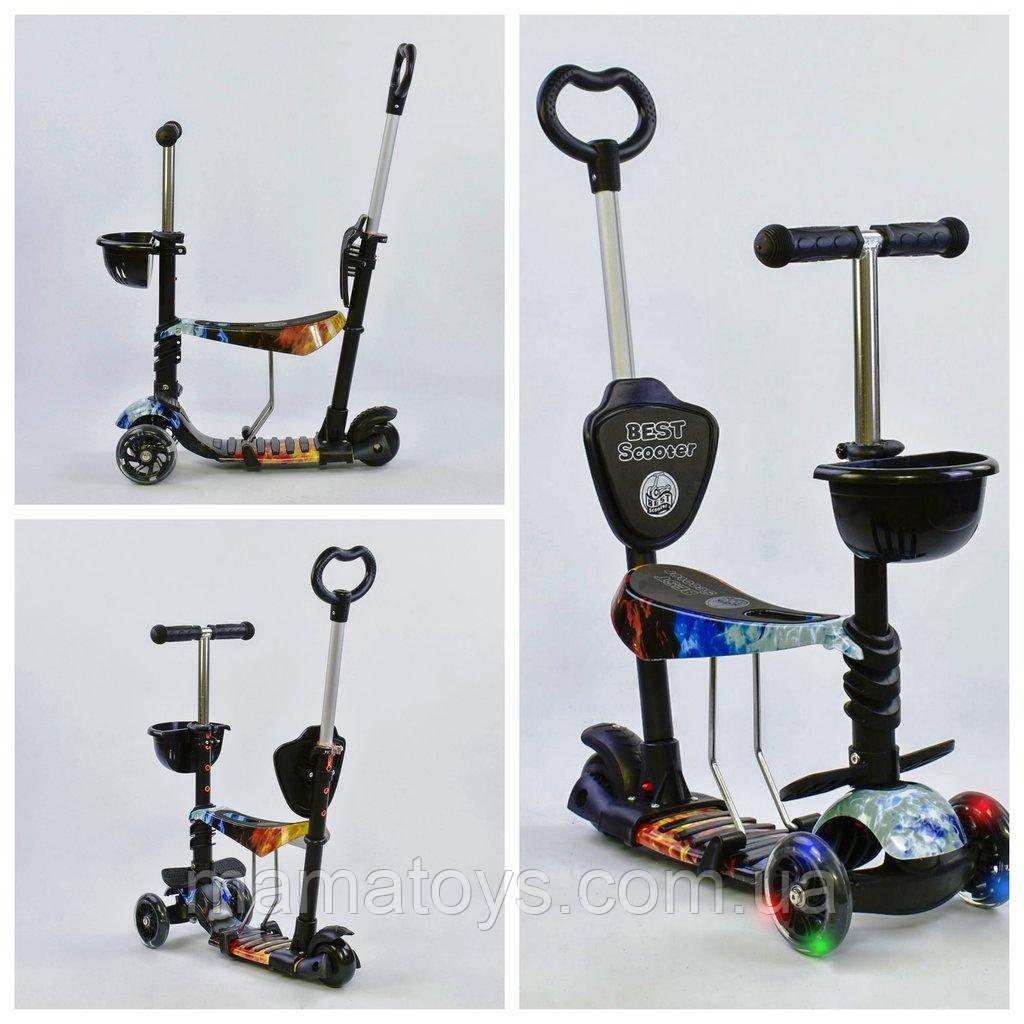 Детский Самокат беговел 5 в 1 Best Scooter 21500  толокар родительская ручка, Абстракция. Свет колес