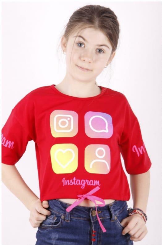 {есть:10/11 лет,12/13 лет} Футболка Instagram для девочек, Артикул: 11061-красный