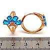 Серьги Xuping из медицинского золота, голубые фианиты, позолота 18K, 23924       (1), фото 2