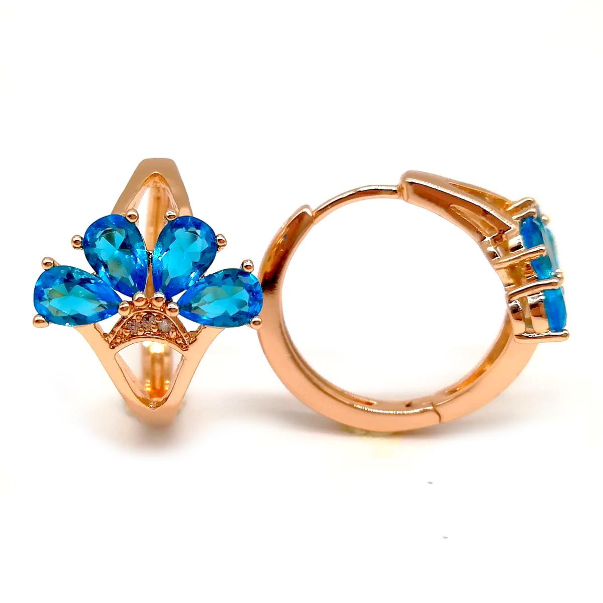 Серьги Xuping из медицинского золота, голубые фианиты, позолота 18K, 23924       (1)