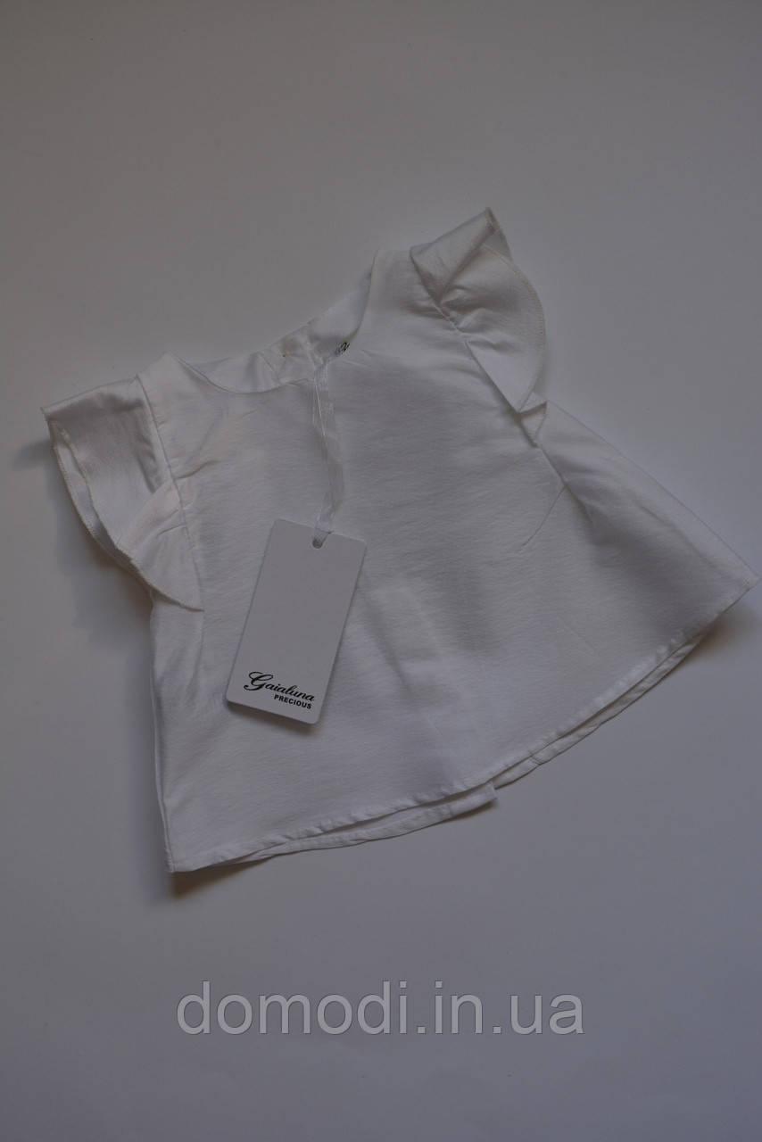 Біла нарядна блуза фірми Gaialuna (6-12 місяців).