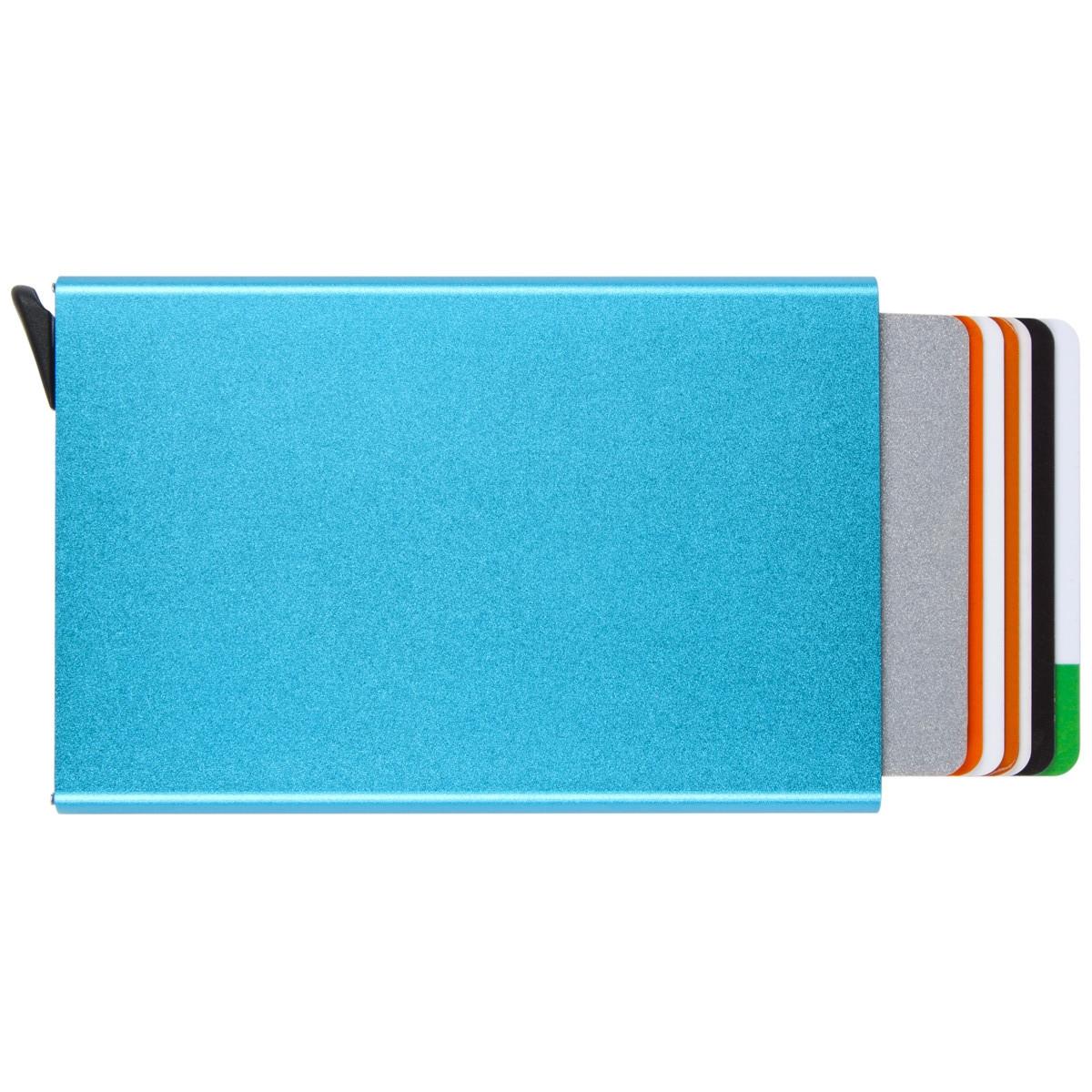 Металлический картхолдер BagHouse 95х62х9 цвет голубой металлик, 6 карт м КХМгол