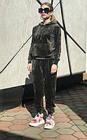 Женский темно-зеленый велюровый спортивный костюм (оверсайз) Rocamoon™