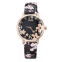 Женские часы Spring Flowers черные, жіночий наручний годинник, женские наручные часы