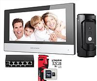Комплект IP домофона Hikvision DS-KH6320-WTE1 + POE коммутатор