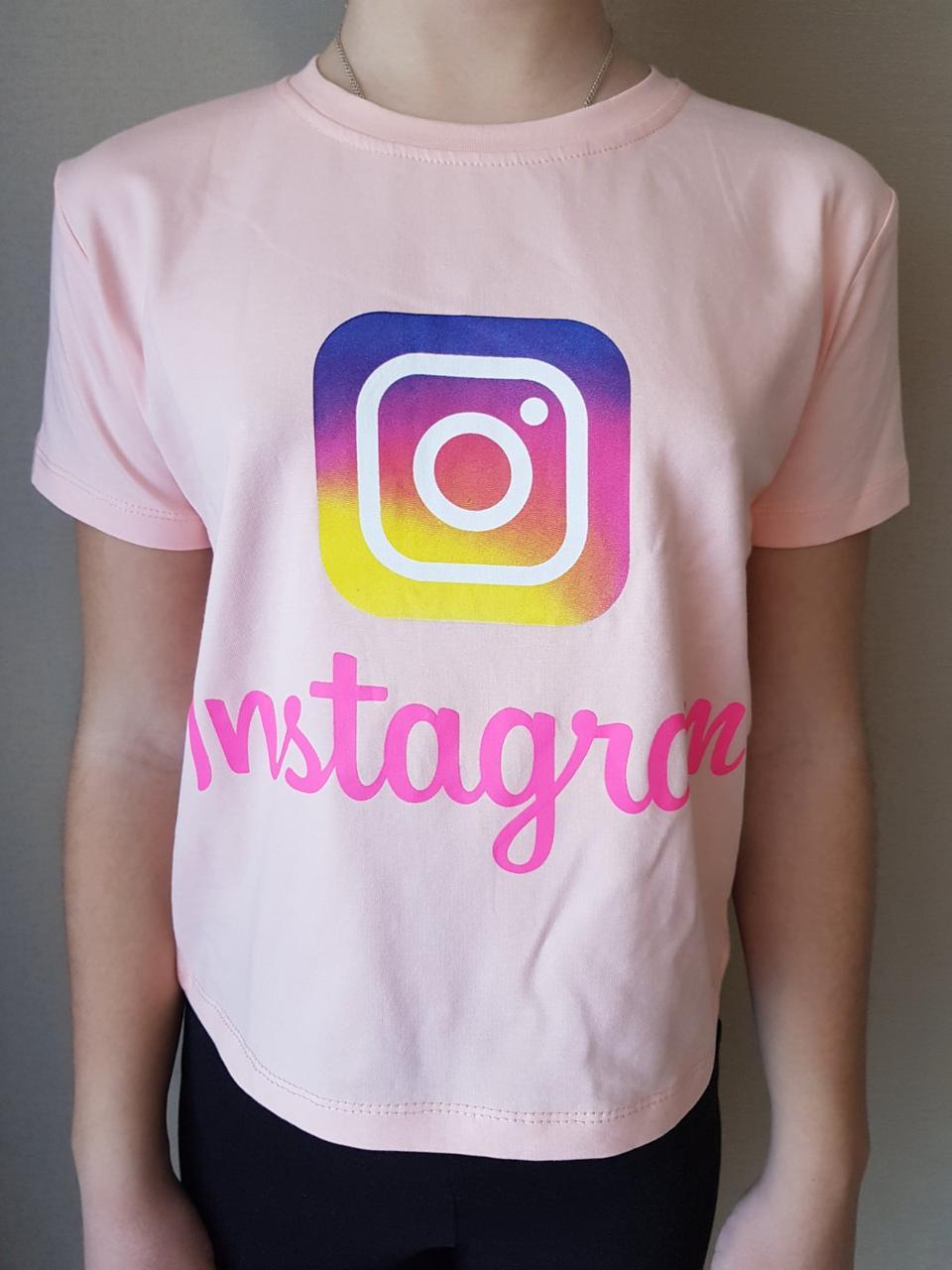 {есть:10 лет,11 лет,12 лет,13 лет} Футболка Instagram для девочек,  Артикул: 1201-розовая [13 лет]