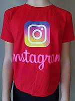 {есть:10 лет,11 лет,13 лет} Футболка Instagram для девочек, Артикул: 1201-красная [10 лет]