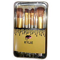 Кисточки для макияжа Kylie professional brush set 12 штук серебро