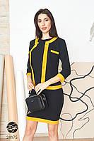 Черно-горчичное платье-двойка приталенное с жакетом