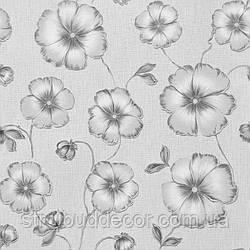 Щільні паперові шпалери 0,53*10,05 Еко лайн сірий квітка
