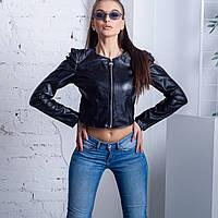 Женский жакет укороченная курточка эко кожа чёрный Италия S