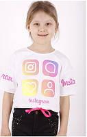 Футболка Instagram для девочек оптом, 6/7-13/14 лет. Артикул: 11061-белый